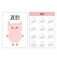 pig piggy simple pocket calendar layout 2019 new vector image