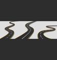 road winding highway isolated two lane pathway vector image vector image