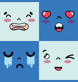 set faces emoji with emotions character vector image
