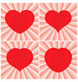 set of four big red hearts vector image vector image