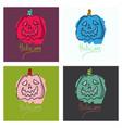 set of halloween pumpkin with face on dark vector image vector image