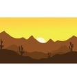 Silhouette of desert vector image