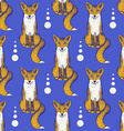 Sketch Fox seamless pattern vector image vector image