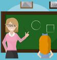 teacher giving a class to school girl vector image vector image
