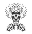 vintage monochrome hipster skull in cap vector image vector image