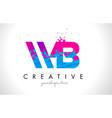 wb w b letter logo with shattered broken blue vector image vector image