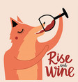 with fox drinking red wine from glass rise vector image vector image