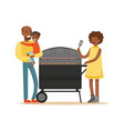 young black woman grilling sausages on a grill for vector image vector image