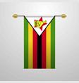 zimbabwe hanging flag vector image vector image
