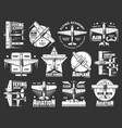 aviation school and academy icons airplane pilot vector image vector image