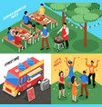 barbecue isometric design concept vector image