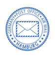 blue postal stamp hamburg germany postmark with vector image vector image