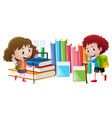 boy and girl with books in background vector image