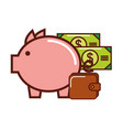 business piggy bank money banknote briefcase vector image vector image