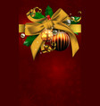 christmas decoration with balls and an yellow bow vector image