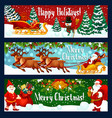 christmas holiday banner of santa sleigh and gift vector image vector image
