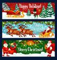 christmas holiday banner of santa sleigh and gift vector image