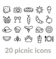 collection of picnic line icons vector image vector image