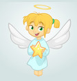 cute cartoon christmas angel holding a star vector image vector image