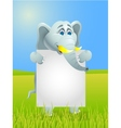 cute elephants with blank sign vector image vector image