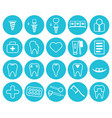dental icons set linear style icons vector image