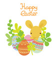 easter bunny hiding in the eggs vector image vector image