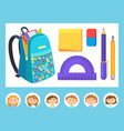 educational equipment backpack and office vector image