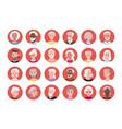 elderly people round avatar set happy man woman vector image