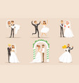 elegant romantic just married couples set vector image vector image