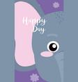 elephant cute animal cartoon card vector image vector image
