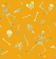 flat line human skeleton seamless pattern vector image vector image