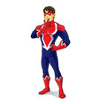 friendly superhero thinking vector image vector image