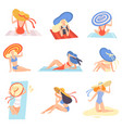 girls in swimsuits and hats sunbathing on beach vector image vector image