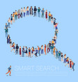 group of people shape of a magnifying glass vector image