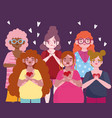 group women diverse with hearts cartoon character vector image vector image