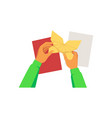 hands folding paper sheets and holding origami vector image