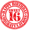 Happy birthday sweet 16 grunge rubber stamp vector image vector image