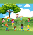 happy children playing hopscotch in park vector image vector image