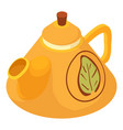 kettle green tea icon isometric 3d style vector image vector image