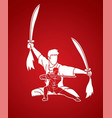 kung fu fighter martial arts with swords action vector image