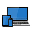 laptop tablet and smartphone with empty blue vector image vector image