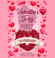 loving couple hearts roses valentines day party vector image vector image