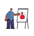 male police officer presenting information board vector image