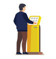 man using electronic self service payment system vector image vector image