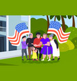 multi generation family holding usa flags vector image