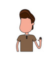 nice boy with hand up and casual wear vector image