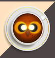 owl drinking coffee vector image vector image