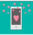 Phone with hearts Flat design style vector image