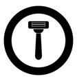 razor icon black color in circle vector image vector image