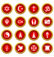 religion icons set simple style vector image vector image